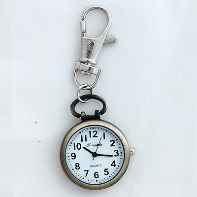 Cute Retro Bronze Quartz Pocket Watch Cute Key Ring Keychain Party Gift Bag GL52