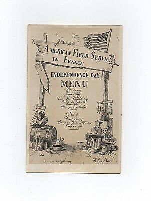 Leon Lepeltier (1877/1960)   American Field Service 1917 -Independence Day Menu