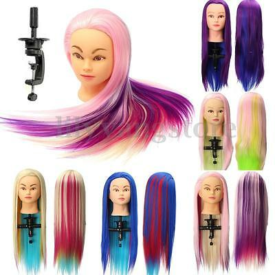 """24"""" Colorful Hair Hairdressing Salon Practice Training Head Mannequin Free Clamp"""