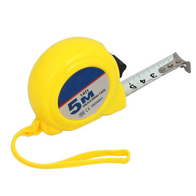 5M 16Ft Plastic Shell Retractable Ruler Thumb Lock Measure Tape Measuring Tool