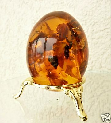 Baltic Amber Egg with Insect Inside. (k578)