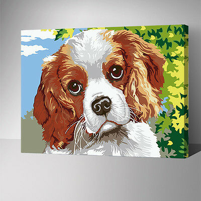 Framed Painting by Number kit Cute Dog Puppy House Pet Little Animal DIY YZ7585