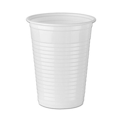 100 7oz White Plastic Disposable Cups, Water Vend Party