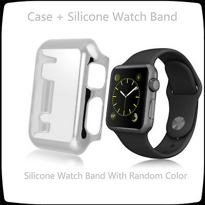 Silver 2 in 1 Clear Apple Watch 42mm Hard & Slim Protective Case / Silicone Band
