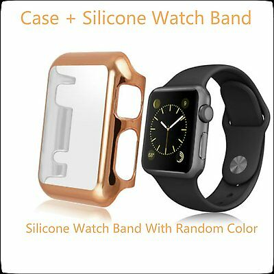 Rose Gold 2 in 1 Clear Apple Watch 38mm Hard Slim Protective Case /Silicone Band
