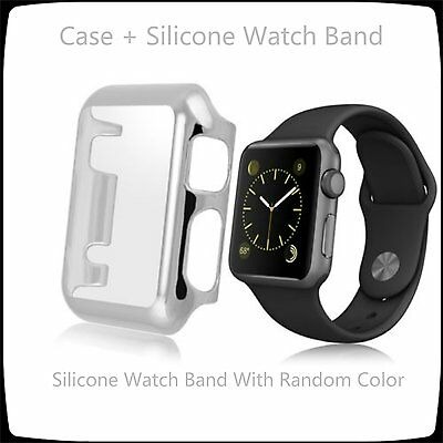 Silver 2 in 1 Clear Apple Watch 38mm Hard & Slim Protective Case / Silicone Band