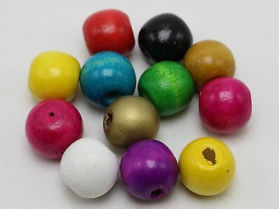 50 Mixed Color Big Round Wood Beads 16mm ~Wooden Beads