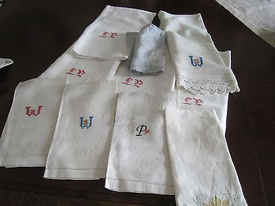 10 Vintage Pure LInen Monogram European Hand & Bath Towels