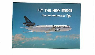 Garuda Airlines issued MD-11  cont/l postcard