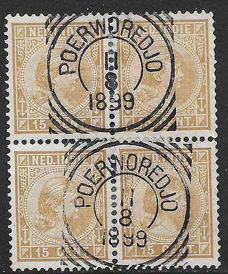 Netherlands Indies stamps 1892 NVPH 25 Bloc of 4  CANC  F/VF