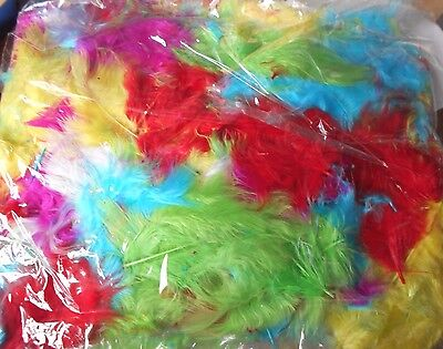 Bag of assorted dyed feathers - scrapbooking, etc - surplus to requirements