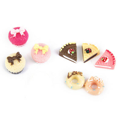 8pcs Assorted Cakes 1:12 Dolls House Miniature Food Kitchen Bakery Accessories