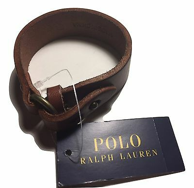 Polo Ralph Lauren Men's Brown Leather O Ring Wrist Strap Band NWT Boxed