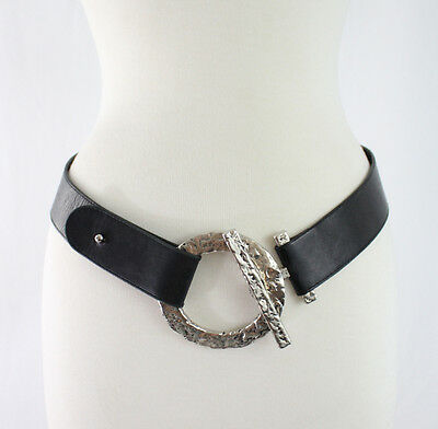 Suzi Roher Black Silver Hammered Large Leather Waist Belt Size Medium