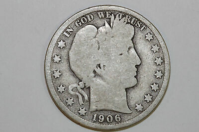 Grades Very Good 1906 D Barber 90% Silver Half Dollar (BARH801)