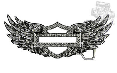 Harley-Davidson Womens Silver Highway B&S Crystal Embellished Wings Belt Buckle