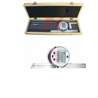 """Electronic Digital Protractor Stainless Steel 6"""" 12"""" Blade 0-360 Degree 30"""" Res."""