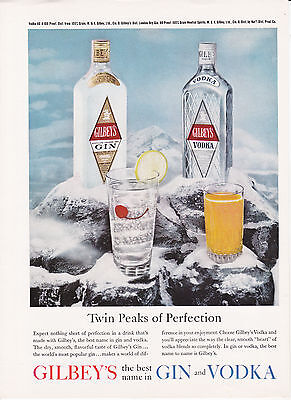 Original Print Ad-1961 GILBEY'S Best Name in Gin&Vodka-Twin Peaks of Perfection