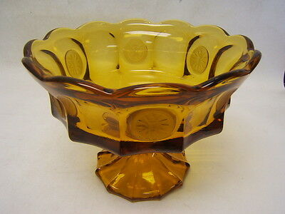 "Fostoria Frosted Coin Amber Compote 8.5"" Round 6.5"" Tall VGC Elegant Glass"