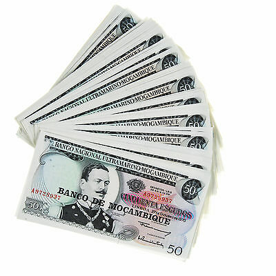 Lot of 71 1970 Mozambique 50 Escudos P116 Some Consecutive Serial Numbers #42884