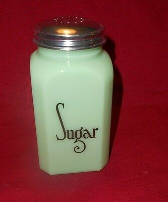 JADEITE MILK GLASS HA marked SUGAR SHAKER CLASSIC LETTERING METAL LID Hazel