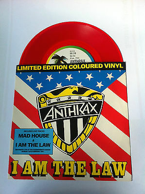 """Anthrax I Am The Law / Madhouse 7"""" Red Vinyl"""