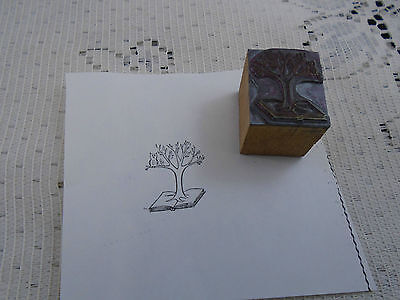 Tree of Knowledge Biblical Printing Block Letterpress Graphic Arts Tree on Bible