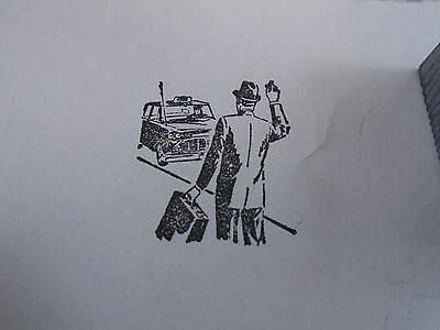 Man in Hat Hailing Cab Taxi 1950's Car Printing Block Letterpress Graphic Arts