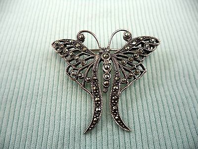 Amazing Antique Sterling Silver Butterfly Marcasite Estate Brooch Pin JWY Maker