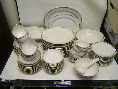 Noritake Nippon Service for 12 w/ Serving Pieces  86 Pieces White w/ Floral Band