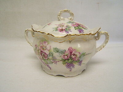 Victorian Buffalo Pottery Handled Jar with Lid Pink Roses Gold Trim