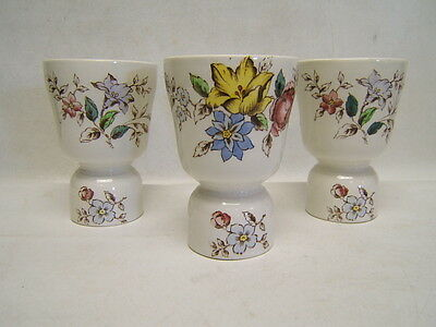 "Booths ""Flowerpiece"" Lot of 3 Double Egg Cups Excellent & Rare"