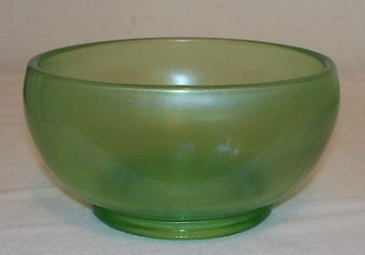 Antique Green Stretch Glass Vaseline Glass Footed Bowl