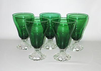 Anchor Hocking Burple Boopie Green 5 Water Tumblers Goblets Swirl Foot 5 3/4""