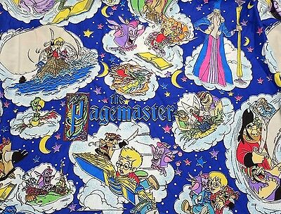 Vtg THE PAGEMASTER Bed Sheet 1990's Rare Bedding Bright Project Fabric Material