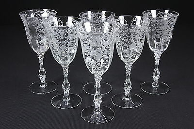 """6 'PORTIA' Pattern Etched Crystal Water Goblets 10 Oz 8 3/8"""" Cambridge Glass"""