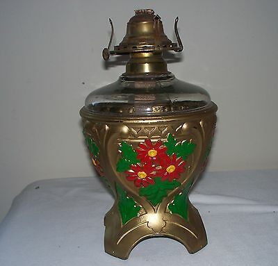 Unique Gorgeous Antique Vintage Ornate Painted Gilded Glass Oil Lamp