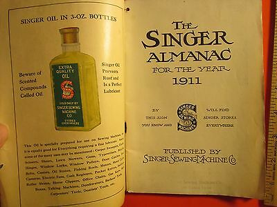 Antique Vintage 1911 illus Singer Sewing Machine Almanac Book