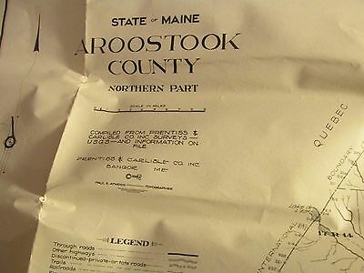 Antique Vintage Old Folding Guide Map of Aroostook County Maine ME w/Envelope