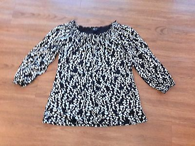 Style & Co.,black & white floral 3/4 sleeve stretch top,womens M