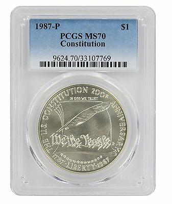 1987-P Constitution Silver Commemorative Dollar MS70 PCGS Mint State 70