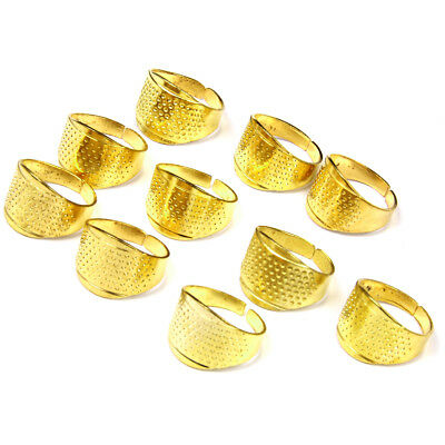 10pc Metal Thimbles Finger Ring Shield Grip Protector Sewing Tool 17x13mm