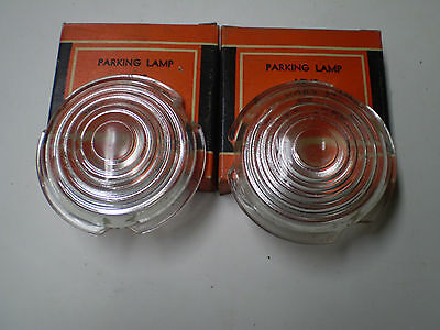 1942-46-47-48 Ford Truck Glass Parking Lamp Lenses In Box Pair Vintage