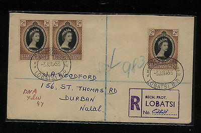 Bechuanaland Port , Lobatsi  registered cover  to  Natal  1953            MS0722