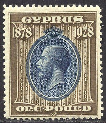 CYPRUS #123 Mint - 1928 £1 Brown & Blue