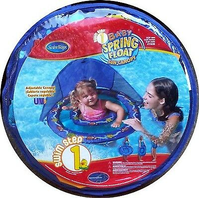 Baby Spring Float with Sun Canopy Swim Ways Blue with Starfish and Clown Fish