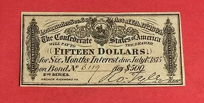 1864 $15 US Confederate States of America! Genuine! Old US! Choice VF