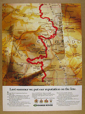 1990 Range Rover Great Divide Expedition colorado map route vintage print Ad