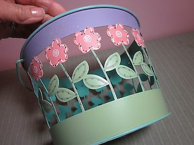 Easter Egg Basket Metal Bucket Flowers & Cut Out Sides Aqua Lavender Green Rose