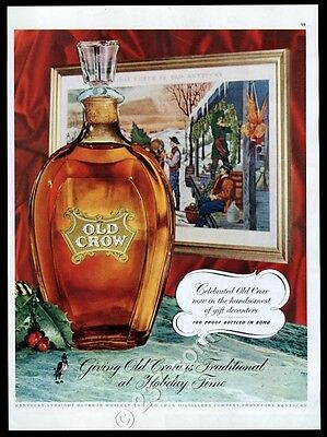 1954 Old Crow Bourbon Whiskey Christmas bottle decanter photo vintage print ad